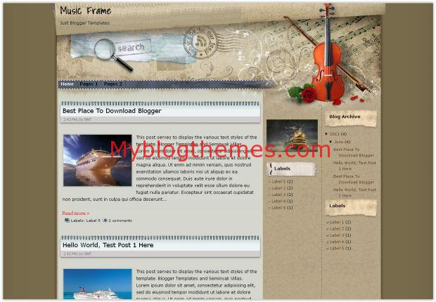 Symphony Music Vintage Blogger Template