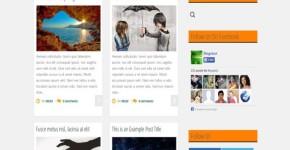 Magazine Grid Orange Blogger Template
