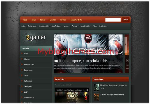 Abstract Grunge Gamer Blogger Template