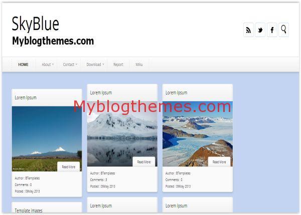 Clean Sky Blue Blogger Template