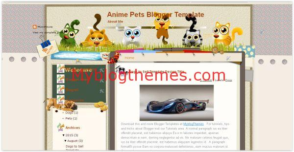 Free Anime Pets Blogger Template