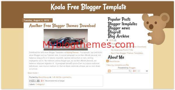 Free Brown Animal Koala Blogger Template
