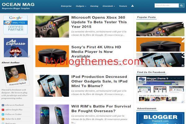 Ocean Magazine Blogger Blue Theme - Myblogthemes